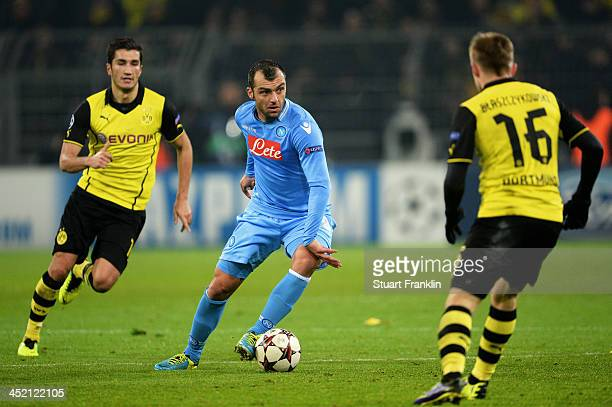 Goran Pandev of Napoli takes on Jakub Blaszczykowski of Dortmund during the UEFA Champions League Group F match between Borussia Dortmund and SSC...