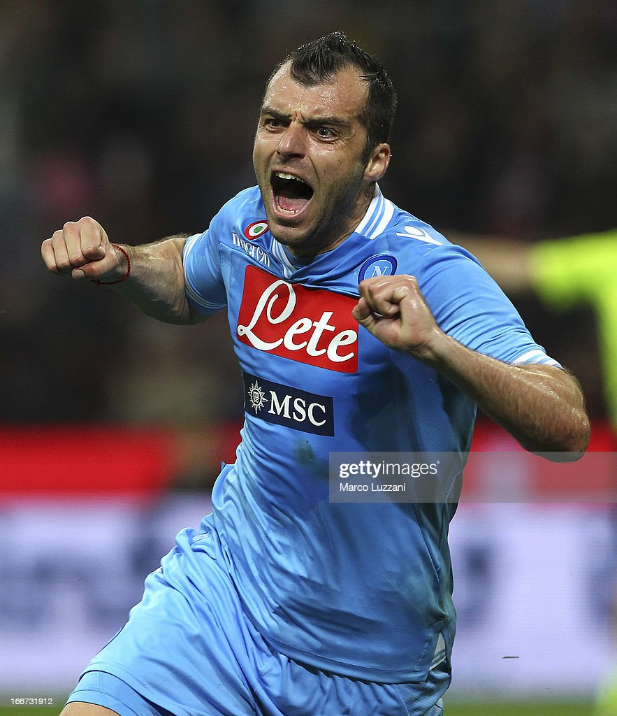 Goran Pandev of SSC Napoli celebrates his goal during the Serie A match between AC Milan and SSC Napoli at San Siro Stadium on April 14, 2013 in Milan, Italy.