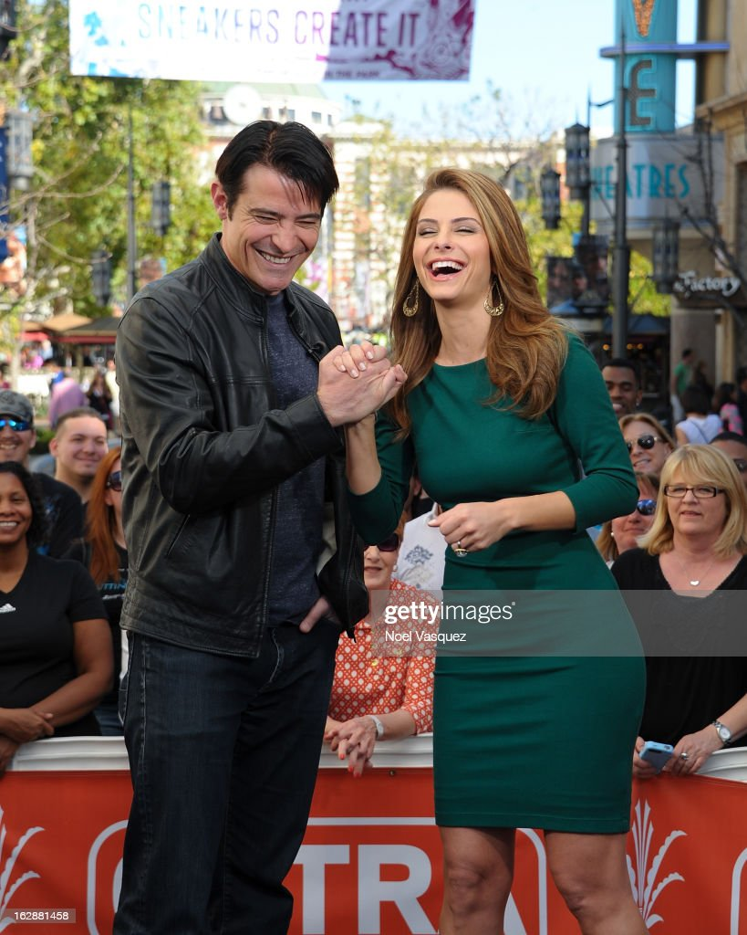 Goran Visnjic (L) and Maria Menounos visit Extra at The Grove on February 28, 2013 in Los Angeles, California.