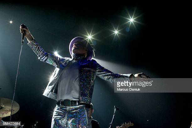 Gord Downie of The Tragically Hip performing at the Air Canada Centre in Toronto as part of the band's Man Machine Poem tour