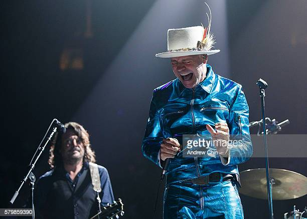 Gord Downie of The Tragically Hip performs onstage during their 'Man Machine Poem Tour' at Rogers Arena on July 24 2016 in Vancouver Canada