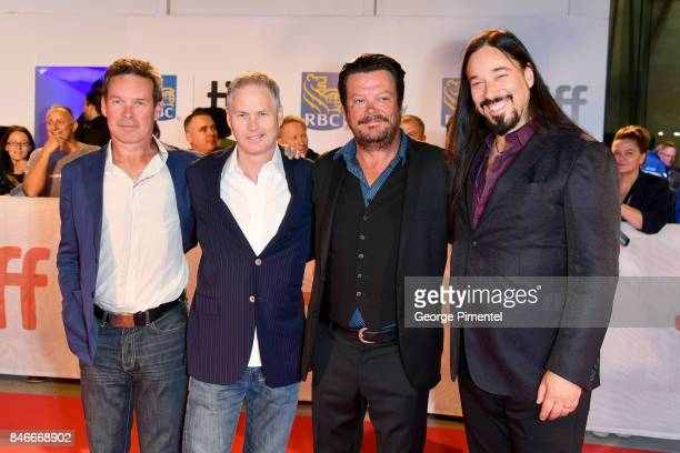 Gord Sinclair Johnny Fay Paul Langlois and Rob Baker of The Tragically Hip attend the 'Long Time Running' premiere during the 2017 Toronto...
