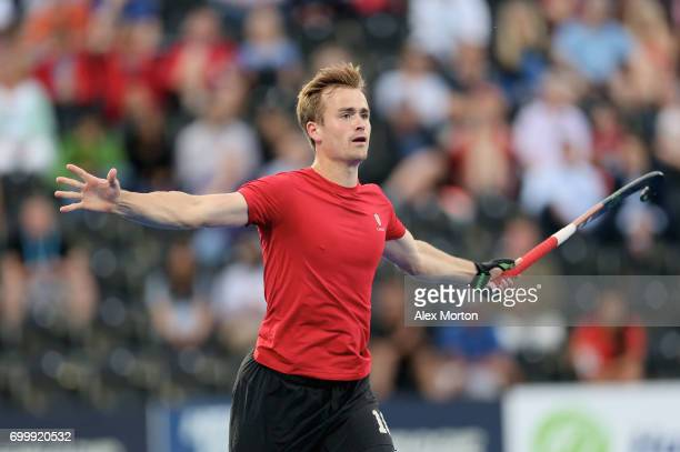 Gordan Johnston of Canada celebrates scoring his teams second goal during the quarter final match between England and Canada on day seven of the Hero...
