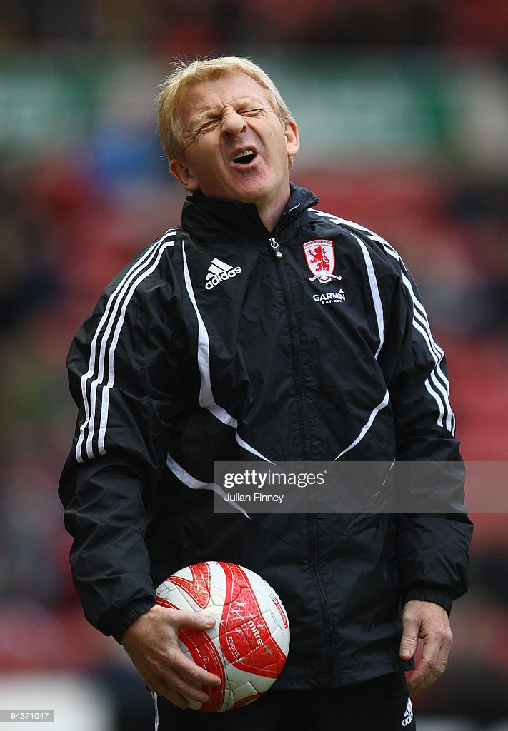 Gordan Strachan of Middlesbrough reacts during the Coca-Cola Championship match between Middlesbrough and Cardiff City at the Riverside Stadium on December 13, 2009 in Middlesbrough, England.