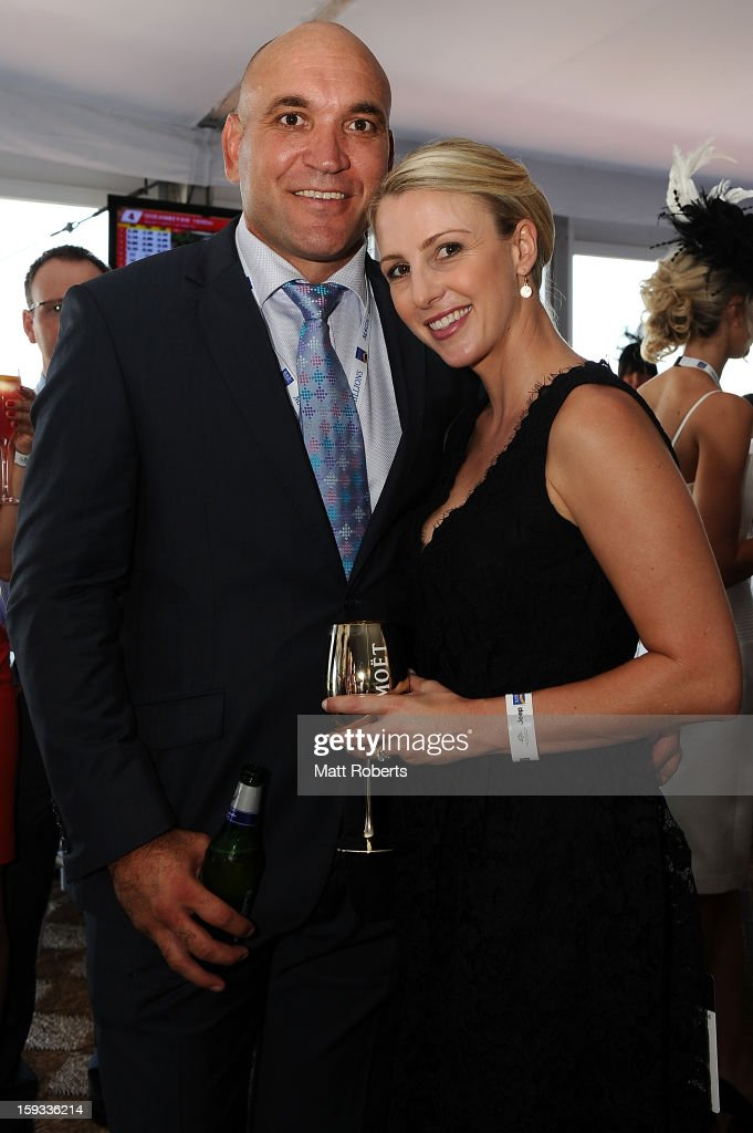 Gorden and Christine Tallis attend Magic Millions Raceday at Gold Coast Turf Club on January 12, 2013 on the Gold Coast, Australia.