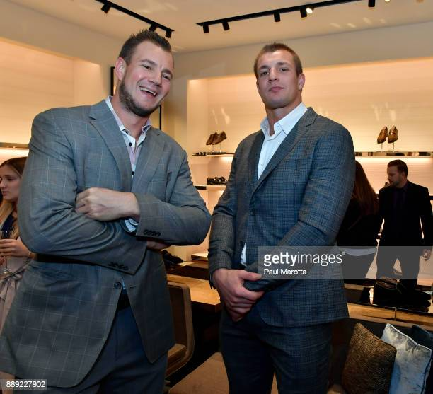 Gordie Gronkowski Jr and Rob Gronkowski attend the Opening of the Salvatore Ferragamo Copley Place store on November 2 2017 in Boston Massachusetts