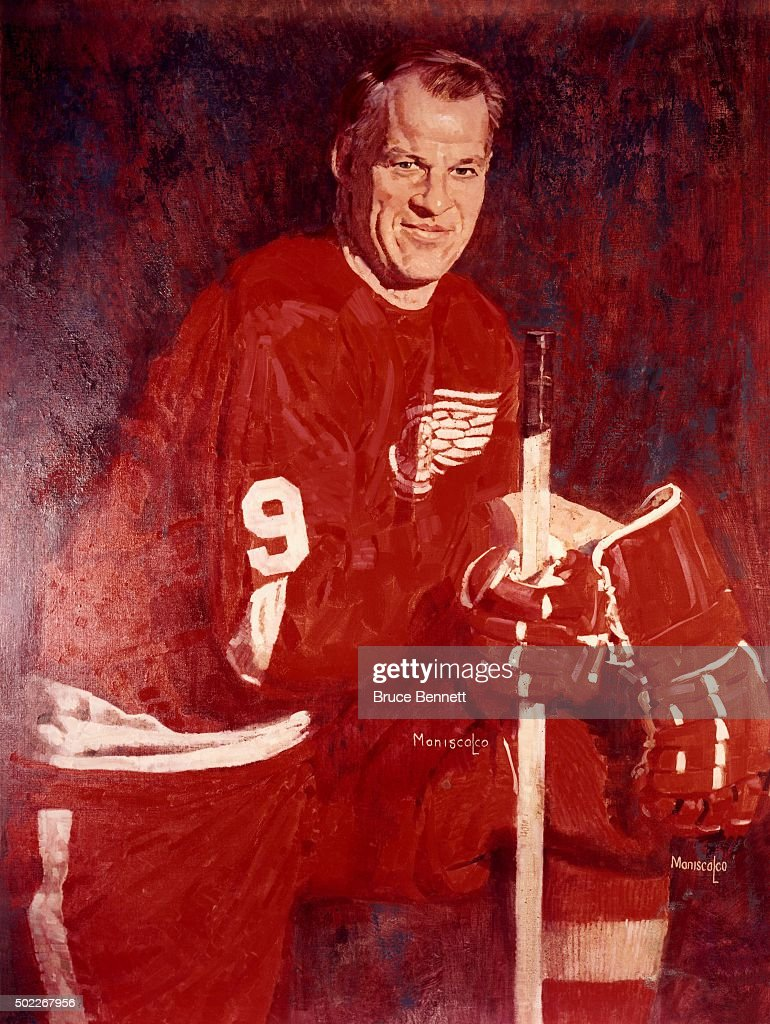 gordie howe 9 of the detroit red wings is shown in a painting circa 1960