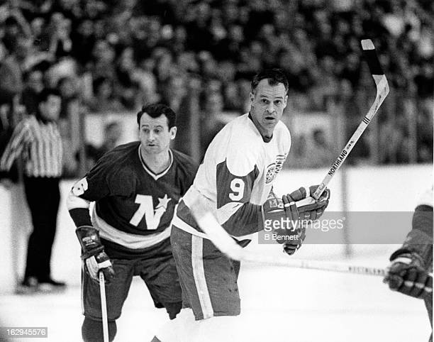 Gordie Howe of the Detroit Red Wings skates on the ice during an NHL game against the Minnesota North Stars on March 17 1968 at the Met Center in...