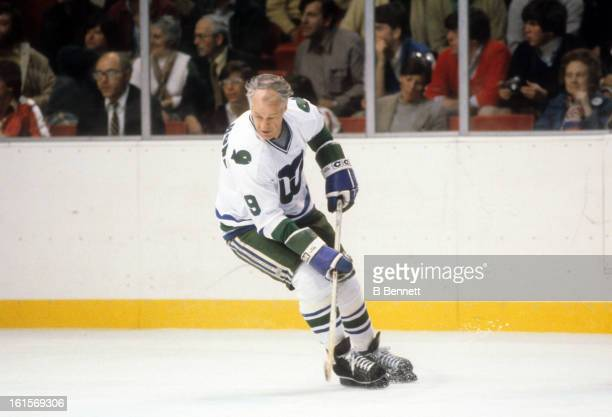 Gordie Howe of the Hartford Whalers skates on the ice during Game 3 of the 1980 Preliminary Round against the Montreal Canadiens on April 11 1980 at...
