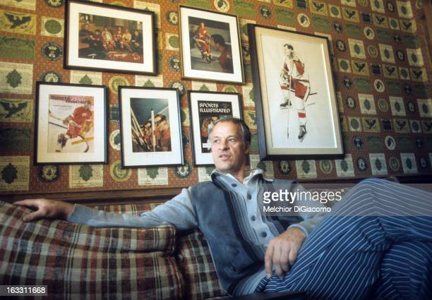 Gordie Howe of the Houston Aeros does an interview at his home circa 1975 in Houston Texas