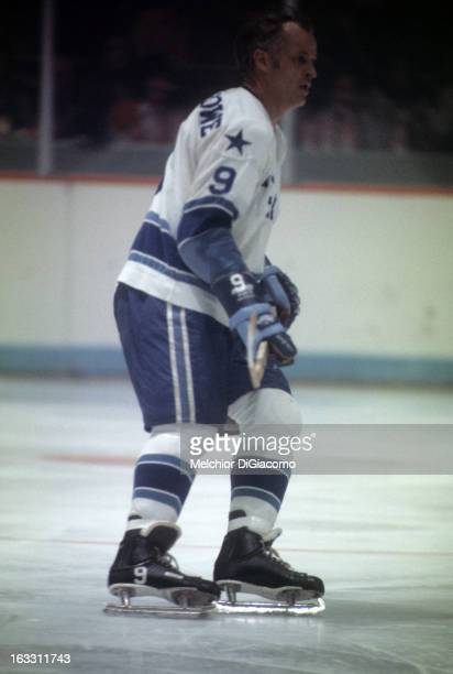 Gordie Howe of the Houston Aeros skates on the ice during an WHA game against the Winnipeg Jets circa 1976 at the Summit in Houston Texas
