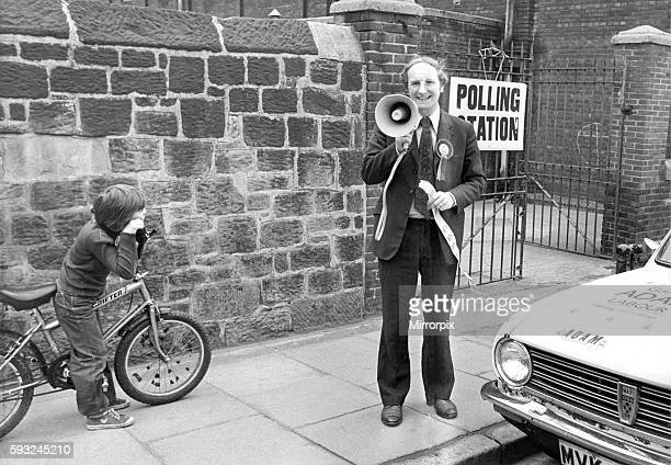 Gordon Adams Labour candidtate in the EuroElections for the Northumberland seat addresses the voter of the future in 1979