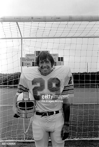 Gordon Banks tries an American Football kit on for size at his new home ground in Fort Lauderdale