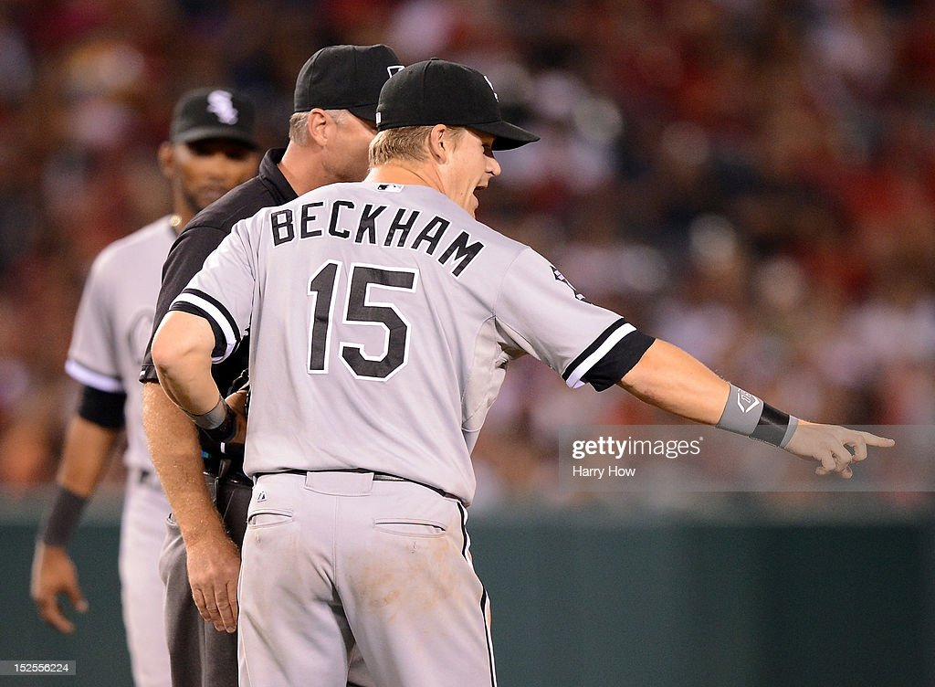 <a gi-track='captionPersonalityLinkClicked' href=/galleries/search?phrase=Gordon+Beckham&family=editorial&specificpeople=5411079 ng-click='$event.stopPropagation()'>Gordon Beckham</a> #15 of the Chicago White Sox argues a call with second base umpire Ed Hickox after Erick Aybar #2 of the Los Angeles Angels was called safe on a steal at second base during the fourth inning at Angel Stadium of Anaheim on September 21, 2012 in Anaheim, California.