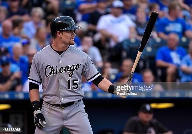 Gordon Beckham of the Chicago White Sox bats against the Kansas City Royals during the third inning of a game at Kauffman Stadium on September 5 2015...