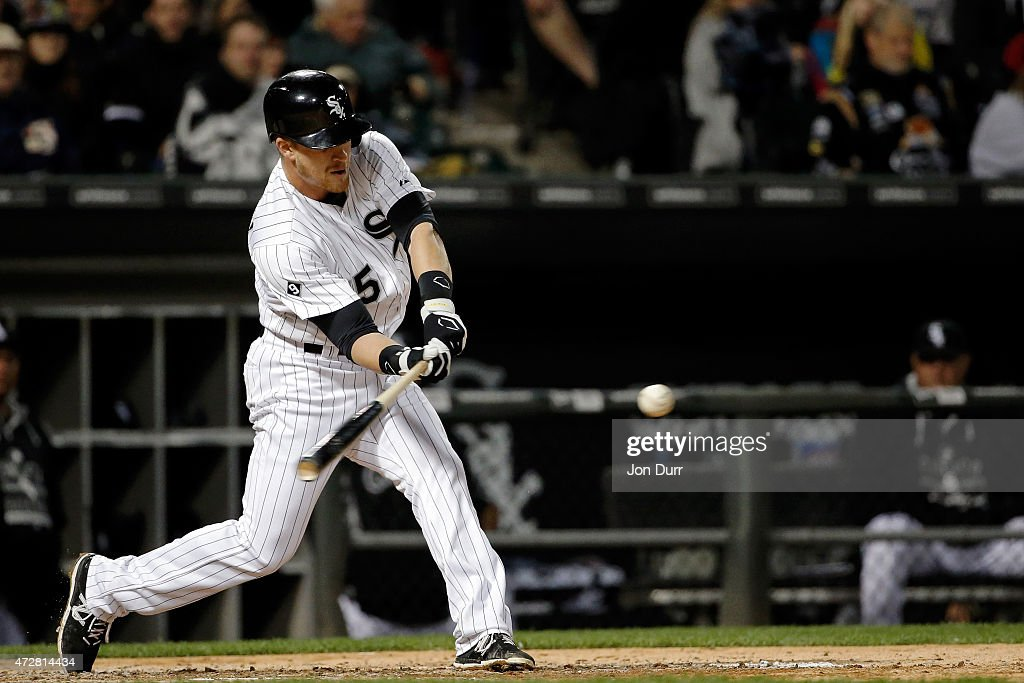 Gordon Beckham #15 of the Chicago White Sox hits a one run home run against the Cincinnati Reds during the sixth inning in the second game of a doubleheader on May 9, 2015 at U.S. Cellular Field in Chicago, Illinois. The Chicago White Sox won 8-2.