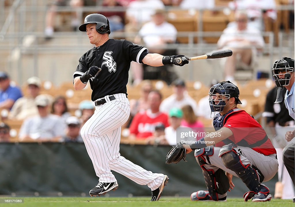 <a gi-track='captionPersonalityLinkClicked' href=/galleries/search?phrase=Gordon+Beckham&family=editorial&specificpeople=5411079 ng-click='$event.stopPropagation()'>Gordon Beckham</a> #15 of the Chicago White Sox hits a single against Team USA during the spring training game at Camelback Ranch on March 5, 2013 in Glendale, Arizona.