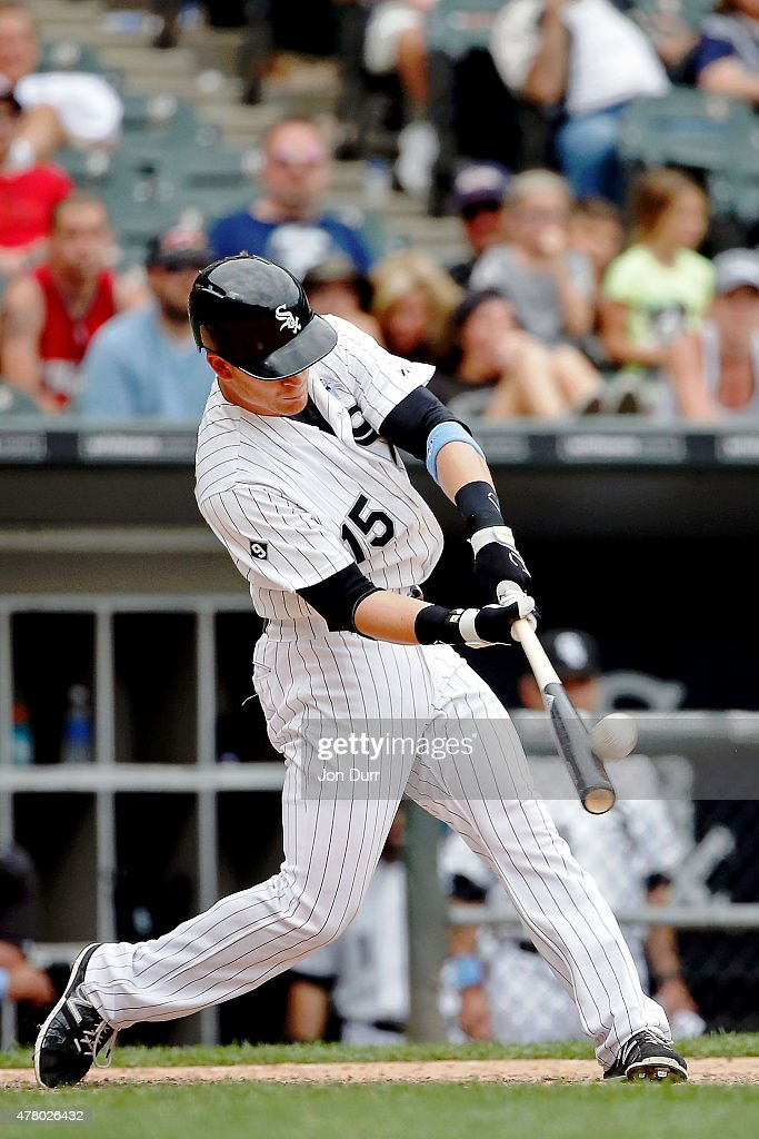 Gordon Beckham #15 of the Chicago White Sox hits a walkof one run home run against the Texas Rangers during the eleventh inning at U.S. Cellular Field on June 21, 2015 in Chicago, Illinois. The Chicago White Sox won 3-2 in eleven innings.