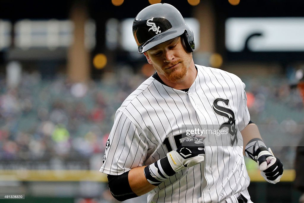 Gordon Beckham #15 of the Chicago White Sox reacts after grounding out against the Detroit Tigers during the ninth inning at U.S. Cellular Field on October 4, 2015 in Chicago, Illinois. The Detroit Tigers won 6-0.