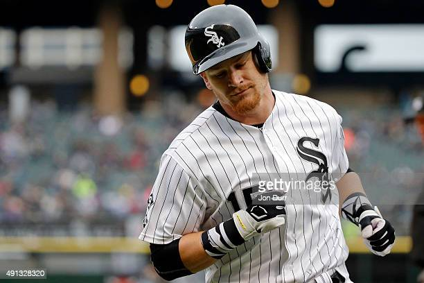 Gordon Beckham of the Chicago White Sox reacts after grounding out against the Detroit Tigers during the ninth inning at US Cellular Field on October...