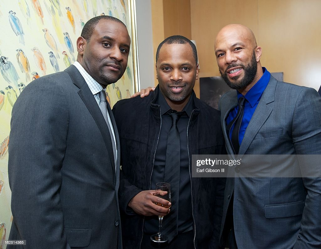 Gordon Bobb, Toure Roberts and Common pose for a photo at the ICON MANN Pre-Oscar Power 30 Dinner at L'Ermitage Beverly Hills Hotel on February 23, 2013 in Beverly Hills, California.