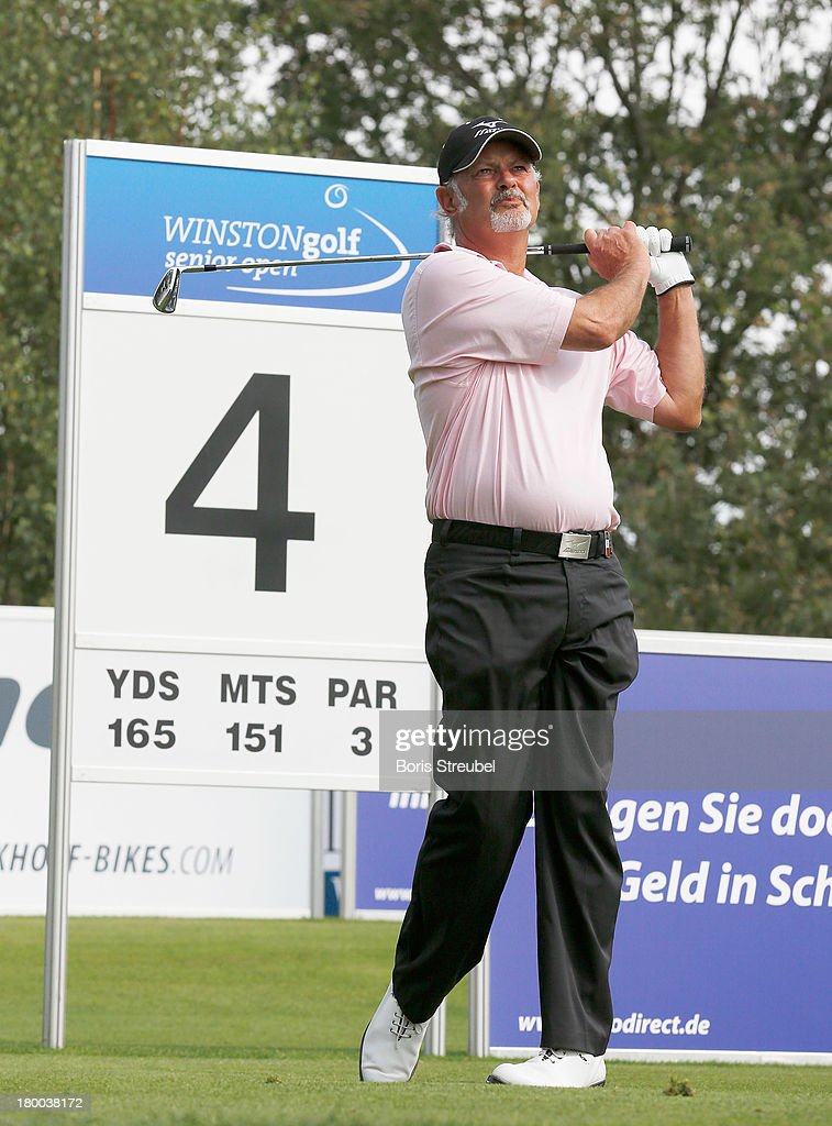 Gordon Brand Junior of Scotland hits a drive of the 4th tee during the final round on day three of the WINSTONgolf Senior Open played at WINSTONgolf on September 8, 2013 in Schwerin, Germany.