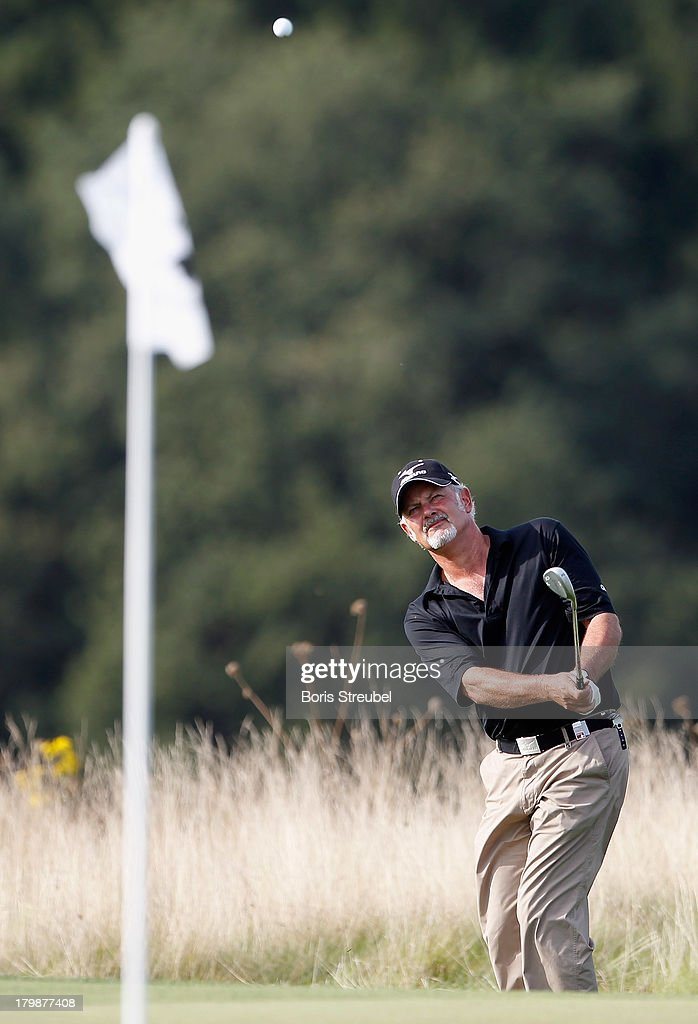 Gordon Brand Junior of Scottland in action during the second round on day two of the WINSTONgolf Senior Open played at WINSTONgolf on September 7, 2013 in Schwerin, Germany.