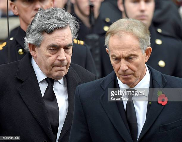 Gordon Brown and Tony Blair attend the annual Remembrance Sunday Service at the Cenotaph Whitehall on November 8 2015 in London England