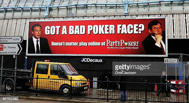 Gordon Brown and Tony Blair feature in Party Poker's new billboard advert at Waterloo Station London April 27th 2005
