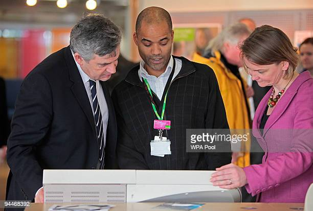 Gordon Brown and Yvette Cooper speak to local young people during their visit to Acton Jobcentre Plus on December 15 2009 in London England The Prime...