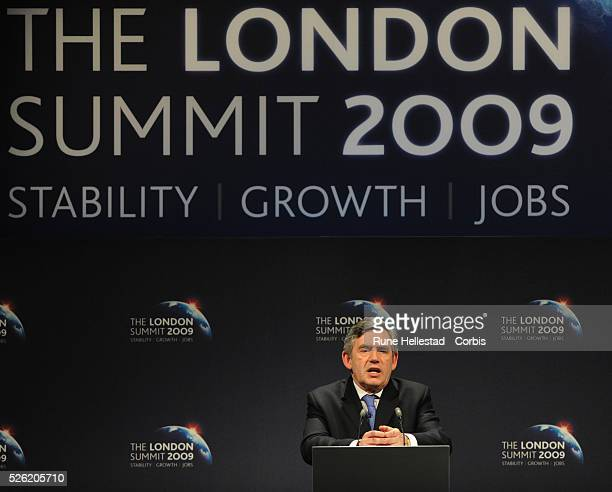 Gordon Brown attends a press conference at the 'G20 Summit' at ExCel Centre
