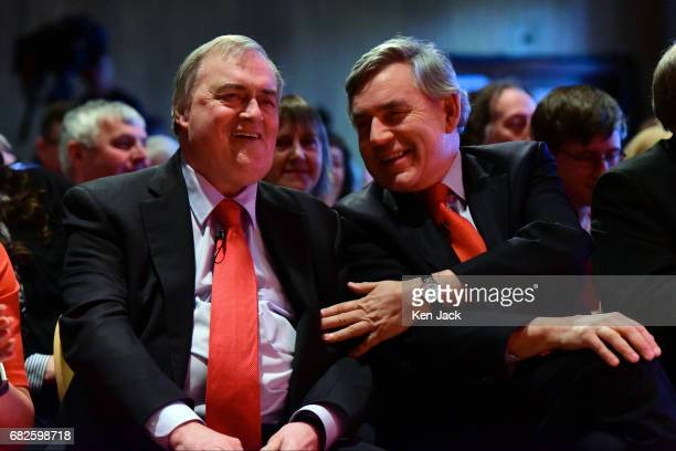 Gordon Brown chats to John Prescott at a Scottish Labour Party election campaign event on May 13 2017 in Kirkcaldy Scotland The Former Prime Minister...