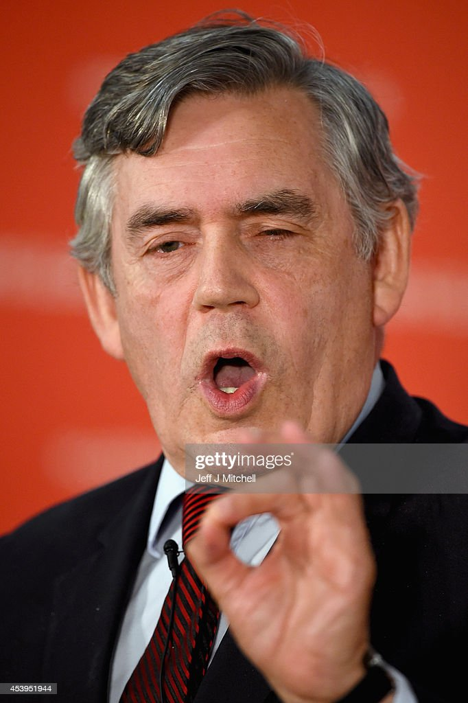 <a gi-track='captionPersonalityLinkClicked' href=/galleries/search?phrase=Gordon+Brown&family=editorial&specificpeople=158992 ng-click='$event.stopPropagation()'>Gordon Brown</a> former British Prime Minister give keynote speech during an event to mark the beginning of the last four weeks of the campaign on August 22, 2014 in Glasgow, Scotland. Both camps in the referendum campaign are holding events on the first day of purdah, a 28 day period which curbs what public bodies can do during the election period.