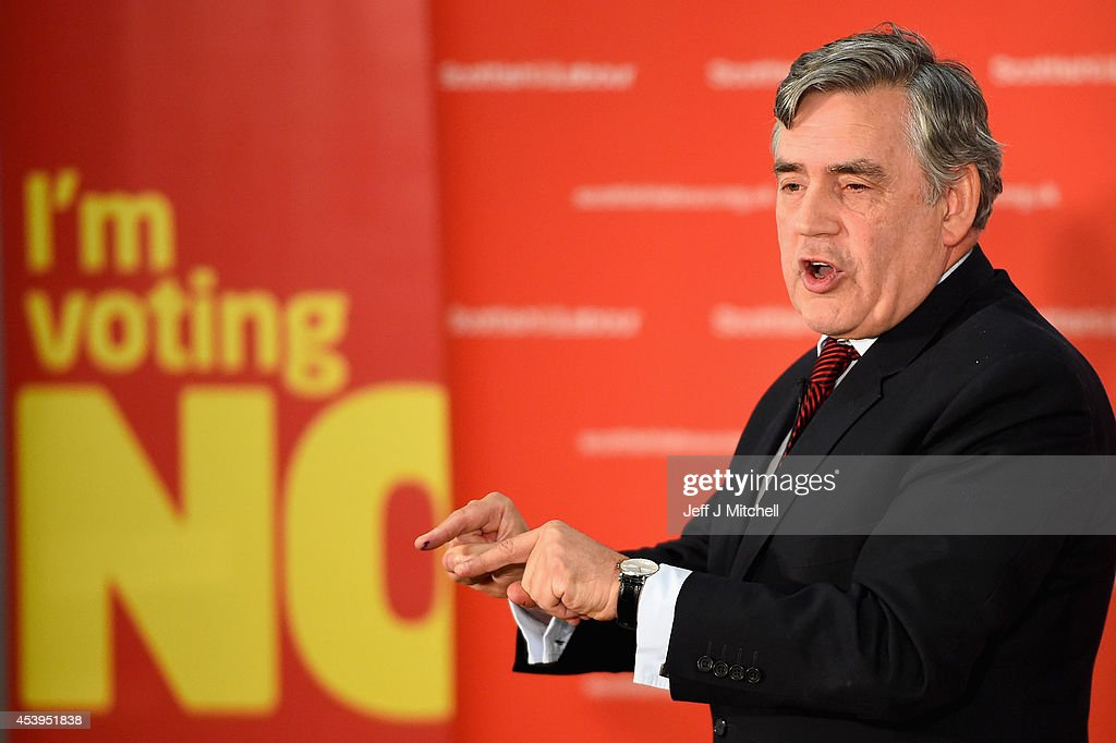 <a gi-track='captionPersonalityLinkClicked' href=/galleries/search?phrase=Gordon+Brown&family=editorial&specificpeople=158992 ng-click='$event.stopPropagation()'>Gordon Brown</a> former British Prime Minister gives a keynote speech during an event to mark the beginning of the last four weeks of the campaign on August 22, 2014 in Glasgow, Scotland. Both camps in the referendum campaign are holding events on the first day of purdah, a 28 day period which curbs what public bodies can do during the election period.
