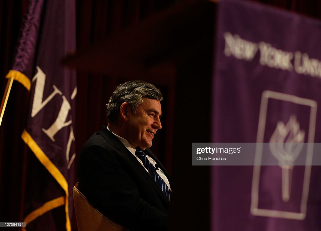 <a gi-track='captionPersonalityLinkClicked' href=/galleries/search?phrase=Gordon+Brown&family=editorial&specificpeople=158992 ng-click='$event.stopPropagation()'>Gordon Brown</a>, former Prime Minister of the United Kingdom, smiles as he is introduced at New York University on December 14, 2010 in New York City. Brown participated in a discussion with students about global politics and economics, and also about his new book exploring globalization in the modern world.