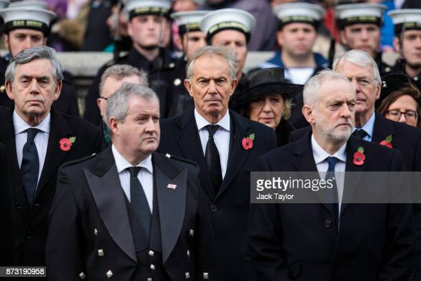 Gordon Brown Ian Blackford Tony Blair and Jeremy Corbyn attend the annual Remembrance Sunday memorial on November 12 2017 in London England The...