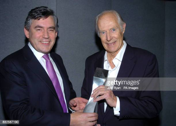 Gordon Brown presents George Martin with the award to mark the latter's induction into the UK Music Hall of Fame 2006 at Alexandra Palace London