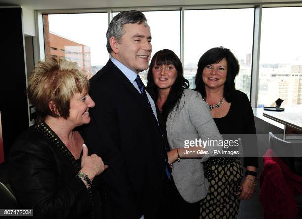Gordon Brown with Angie Gath Bragg Dominique Bragg and Sandra Smith at the City Inn Hotel in Leeds The Prime Minister met the ladies who were...