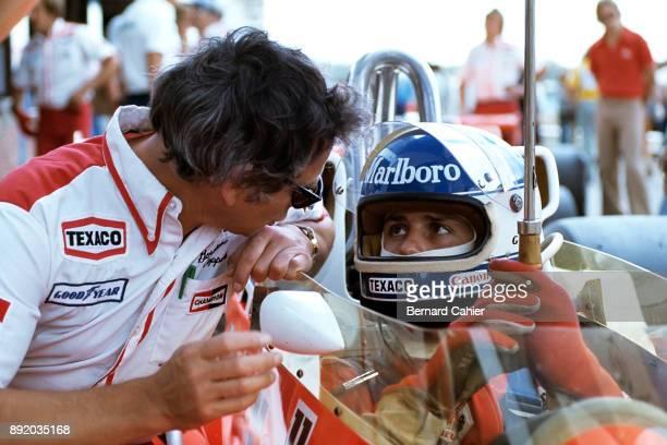 Gordon Coppuck Patrick Tambay McLarenFord M26 Grand Prix of South Africa Kyalami 03 April 1978 McLaren chief designer Gordon Coppuck with Patrick...