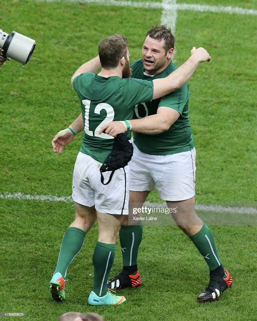 Gordon D'Arcy and Mike Ross celebrate the victory after the RBS 6 Nations match between France and Ireland at Stade de France on march 15, 2014 in Paris, France.