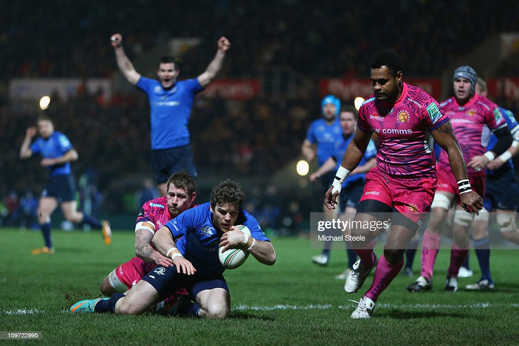 <a gi-track='captionPersonalityLinkClicked' href=/galleries/search?phrase=Gordon+D%27Arcy&family=editorial&specificpeople=220551 ng-click='$event.stopPropagation()'>Gordon D'Arcy</a> of Leinster scores the opening try as Neil Clark of Exeter Chiefs fails to tackle during the Heineken Cup Pool Five match between Exeter Chiefs and Leinster at Sandy Park on January 19, 2013 in Exeter, England.