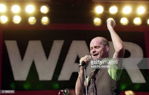 Gordon Downie of the Tragically Hip performs at a free concert in support of children affected by wars in Winnpeg Canada 16 September 2000 The...