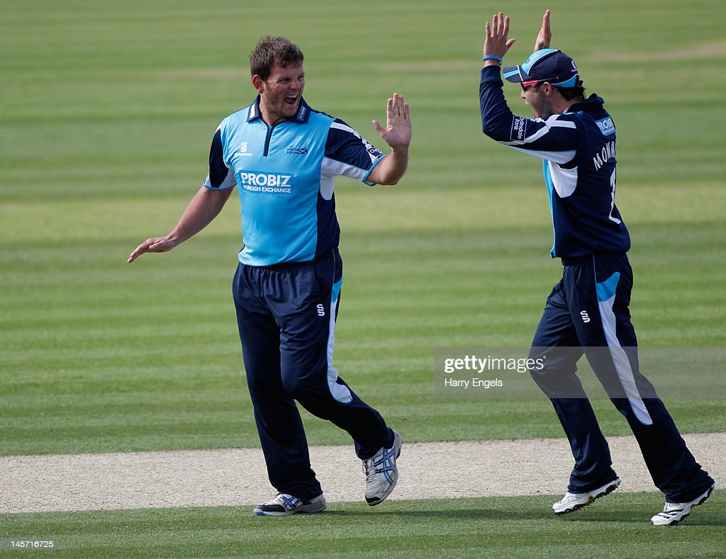 Gordon Drummond of Scotland celebrates taking a wicket during the Clydesdale Bank Pro40 match between the Hampshire Royals and the Scottish Saltires on June 4, 2012 in Southampton, England.