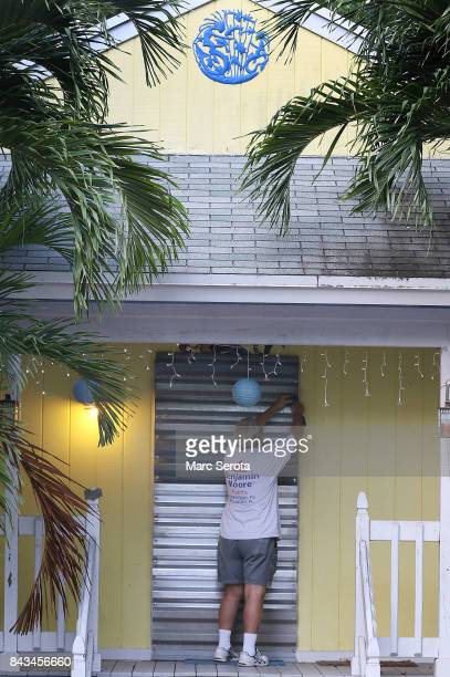 Gordon Forget installs hurricane shutters in Islamorada Florida on September 6 2017 The storm has grown to a category 5 and is expected to make...