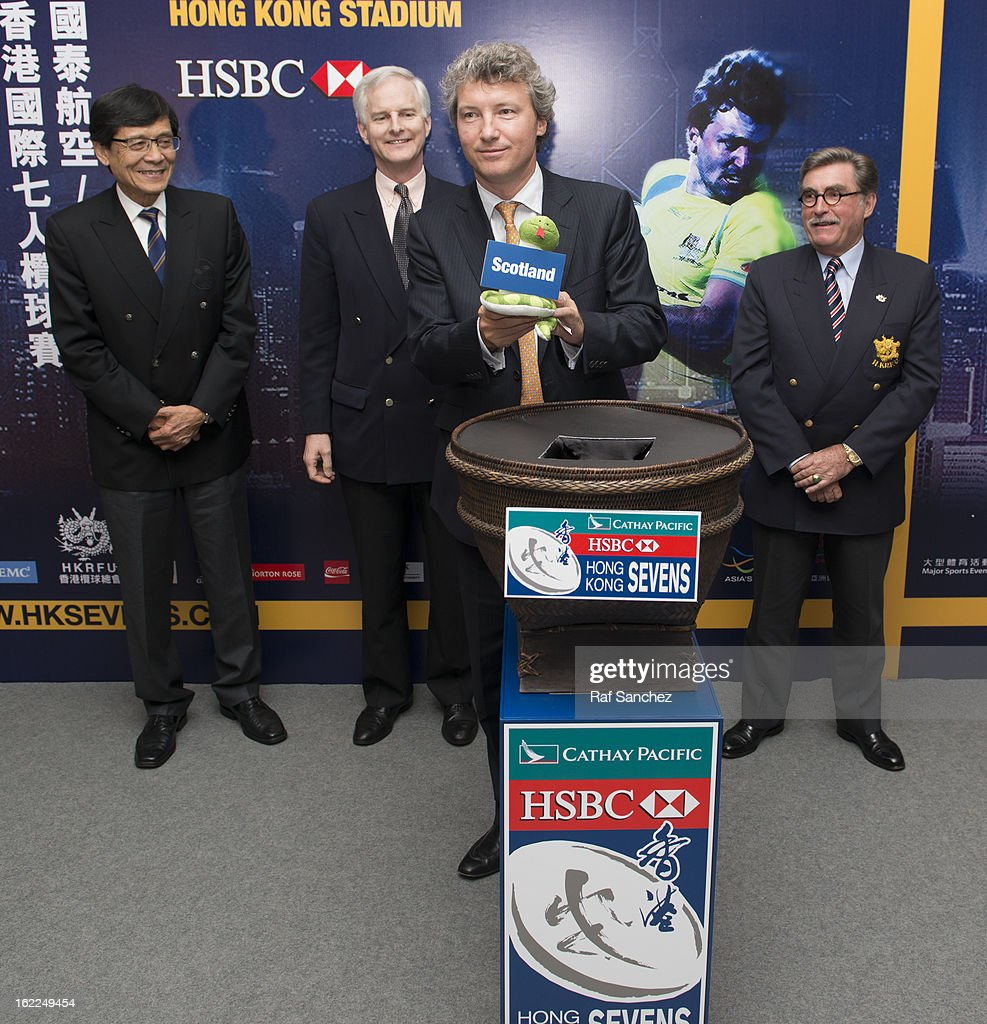 Gordon French, Head of Global Markets, Asia of HSBC selects a team during the Cathay Pacific/HSBC Hong Kong Sevens 2013 Official Draw held at Hysan Place, on February 21, 2013 in Hong Kong.