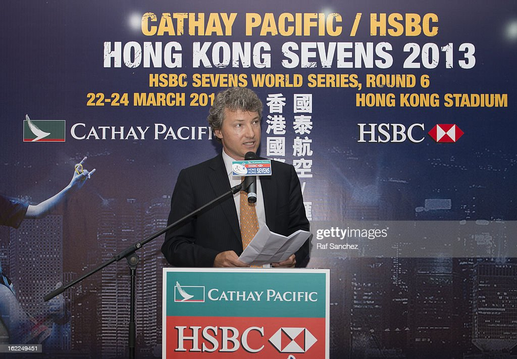 Gordon French, Head of Global Markets Asia of HSBC, speaks during the Cathay Pacific/HSBC Hong Kong Sevens 2013 Official Draw held at Hysan Place, on February 21, 2013 in Hong Kong.