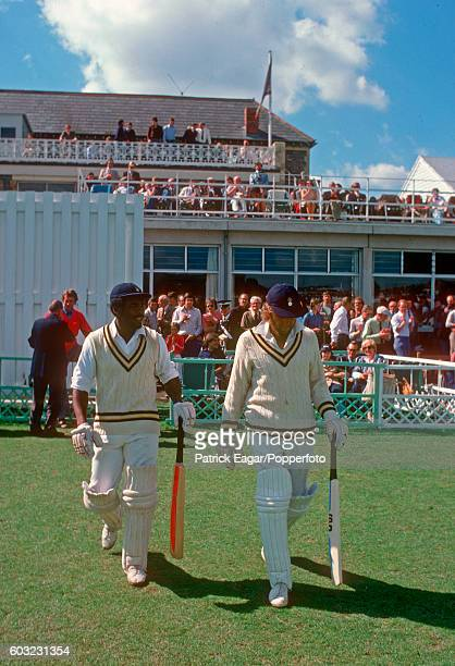 Gordon Greenidge and Barry Richards open the batting for Hampshire during the Schweppes County Championship match between Gloucestershire and...