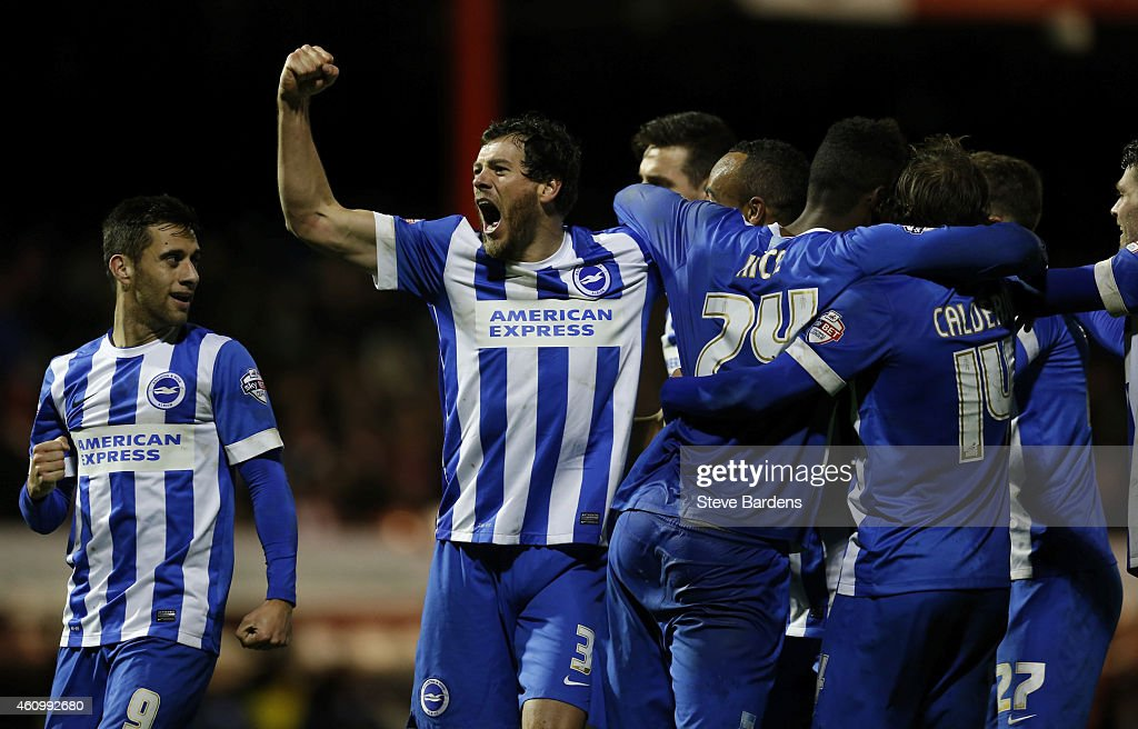 Gordon Greer and his Brighton Hove Albion team mates celebrate Chris O'Grady's goal during the FA Cup Third Round match between Brentford v Brighton...