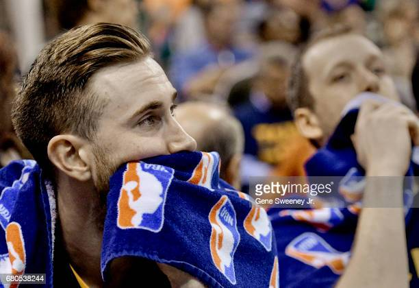 Gordon Hayward and Joe Ingles of the Utah Jazz on the bench as the time expired in their 12195 loss to the Golden State Warriors in Game Four of the...