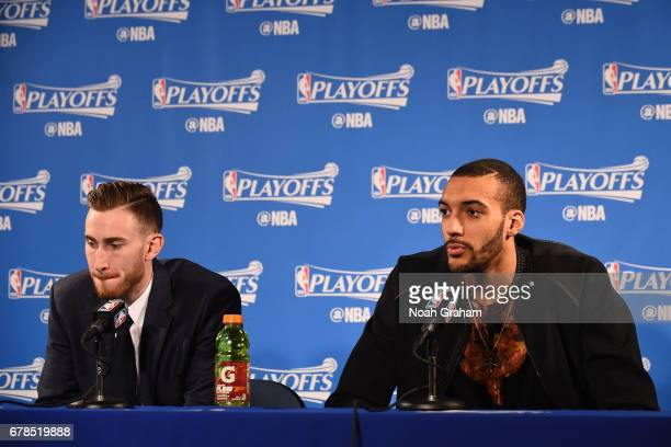 Gordon Hayward and Rudy Gobert of the Utah Jazz talk to the media during a press conference after Game One of the Western Conference Semifinals...